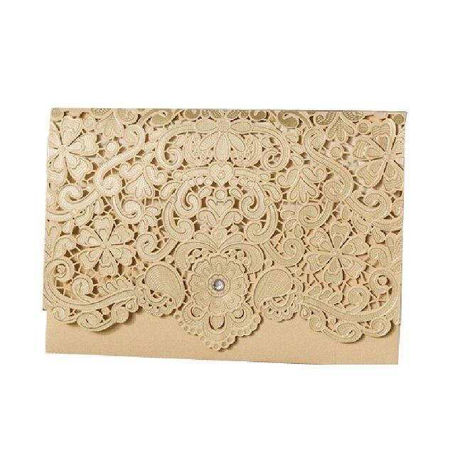50 Pcs Laser Cut Gold Wedding Engagement Invitations Card Business