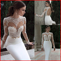 2017 Elegant Sexy Wedding Dresses Chiffon Bridal Events Gowns Vestidos De Noiva New Arrival Sleeve Sheer Lace Mermaid Gown