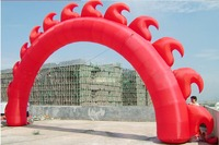 Customized 9m Wide 5 m Tall Red Inflatable Sun Arch for Theme Events Entrance