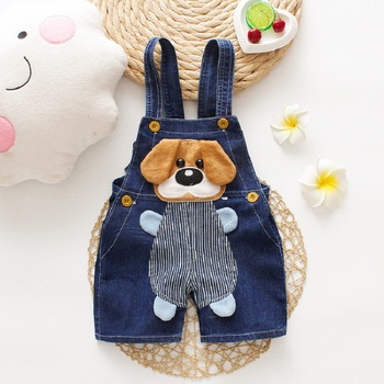 DIIMUU Summer Overalls Shorts Boys Girls Denim Jumpsuits Toddler Clothes Cartoons Dog Casual Jeans Playsuits Baby Clothing