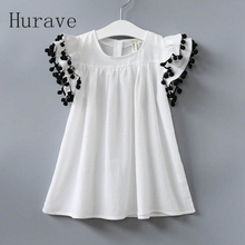 Hurave 2017 fashion girls summer dress kids clothing children vestidos for kids fly sleeve summer cute clothing