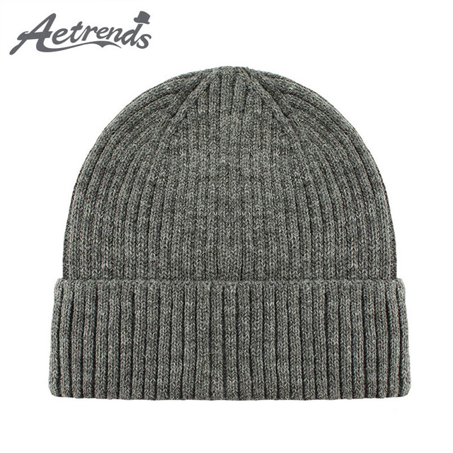 574a82724bfcf  AETRENDS  20 colores sólidos 2018 invierno sombrero superior cálido sombrero  sombreros para hombres de
