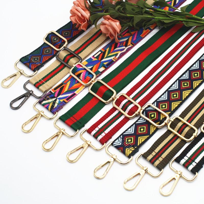 2018 New Handbags Strap Plaid Design National Gold Buckle Canvas Bag Straps New Trendy Easy Holding Shoulder Straps KZ151356