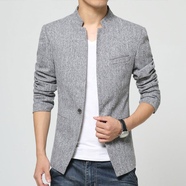 c2fbb052ecb Plus Size 4XL 2019 New Mens Blazer Jacket stand-up collar Men Casual Slim  Fit