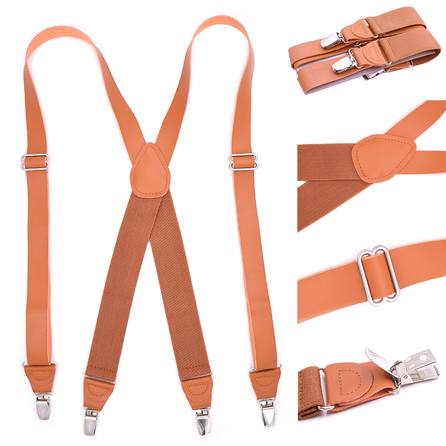 Leather Suspenders 4 Clips Braces X Style Elastic Strap Adult Suspensorio Tirantes Hombre 2.5*120cm