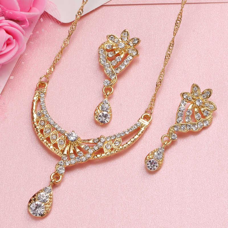 2019 Африканский ювелирный набор Дубай золото серебро комплекты украшений для женщин хрустальные бусины набор свадебных украшений Свадебный костюм ювелирные изделия