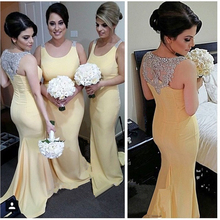 High Quality Scoop Neckline Light Yellow Mermiad Bridesmaid Dresses 2017 Floor Length Beaded/Crystal Back Party Gown for Wedding