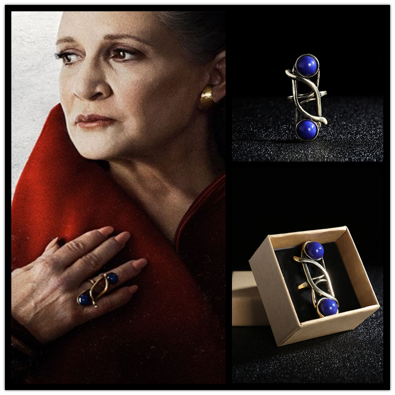 Movie Star Wars The Last Jedi Leia Princess Cosplay Women Blue Vintage With Sapphire Female Rings Chrismas New Year Gift jewelry