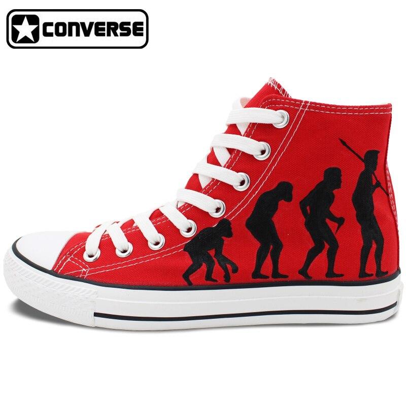 Prix pour Hommes Femmes High Top Rouge Converse Chaussures L'évolution Humaine Personnalisé Peint À La Main Toile Sneakers Unique D'anniversaire Cadeaux