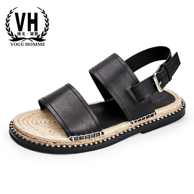Summer thick bottom Roman sandals mens breathable buckle casual Leather slippers personality straw anti-skid outdoor shoes menSummer thick bottom Roman sandals mens breathable buckle casual Leather slippers personality straw anti-skid outdoor shoes men