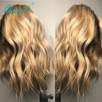 130% Density Middel Part Remy Ombre Blonde Lace Front Wigs Pre Plucked Natural Hairline Wavy Human Hair Lace Front Wig Qearl