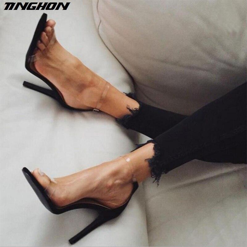 TINGHON Heißer Verkauf PVC Frauen Plattform Sandalen 11,5 CM Super High Heels Wasserdichte Weibliche Transparente Kristall Hochzeit Schuhe