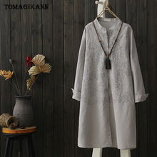 цены Cotton Linen Long Women Blouse Tops Solid Embroidery Shirts Stand Collar Blusas Feminina