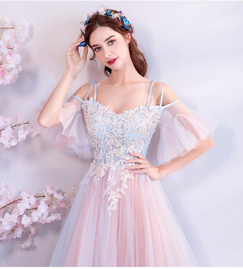 Elegant Off The Shoulder Tulle Long Bridesmaid Dress 1