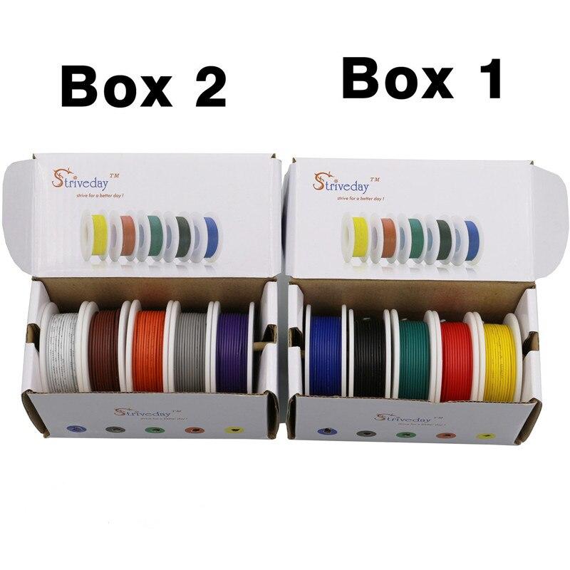 18 20 22 24 26 28AWG (5 colores mezclar alambre Kit) cable de línea eléctrica Cable de línea aérea cobre PCB Cable DIY