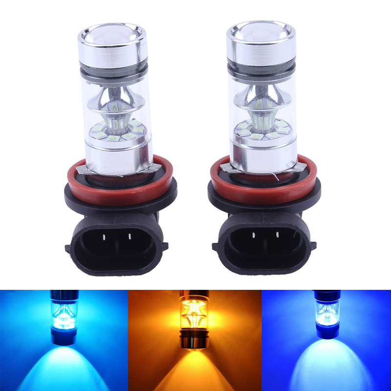 2Pcs High Power LED Car Fog Lamp 100W H8/H11 20SMD Automobiles Headlight Daytime Running Light Light-emitting Diode Ice Blue DRL