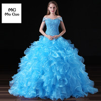 30ae6b11fa5e9b ... 16 vestidos de 15 anos. 2017 Ball Quinceanera Dress Prom Dresses Long  With Appliques Crystals Organza Dress For Graduation Ruffles Quinceanera