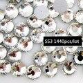 1440 pçs/saco Nail Art Decoração de Cristal Plana Volta Strass guarnição strass SS3 Claro Nail Art DIY ferro em vidro cristal pedras