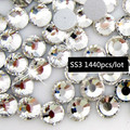 1440 pcs/Bag Nail Art Decoration Crystal Flat Back Rhinestones trim strass SS3 Clear Nail Art DIY iron on glass crystal stones