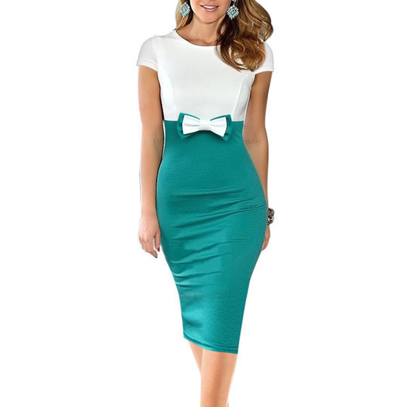 Women Summer Peplum Bow Office Dress White and Green Casual Bodycon Pencil Party Sheath Dresses Ladies Work Knitted Clothes 2016
