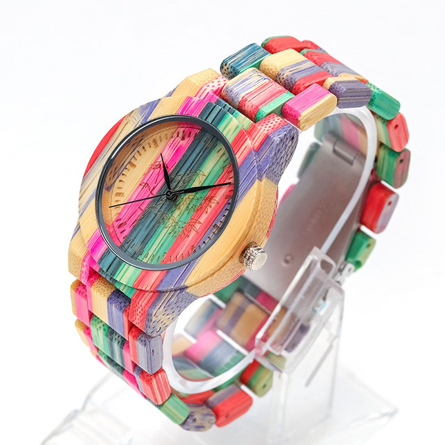 1 Pcs Women Lady Wrist Quartz Watch Wooden Bamboo Strap Round Bamboo Dial Colorful Fashion Gift LL@17 4