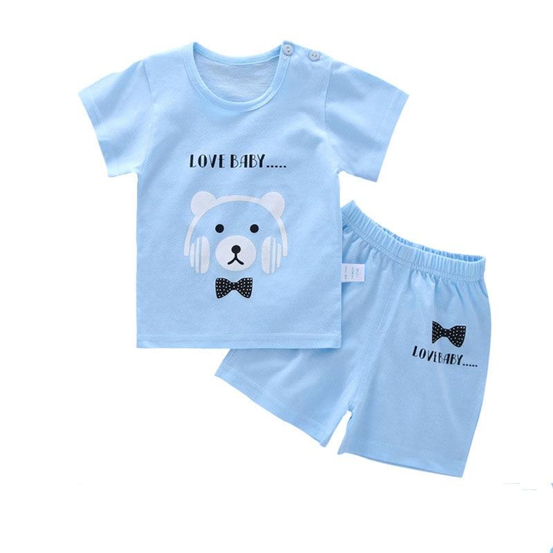 Baby Boy Clothes Summer Cartoon Newborn Short sleeve cotton 2pcs Casual T shirt +pant Baby Clothes set boys sport suit