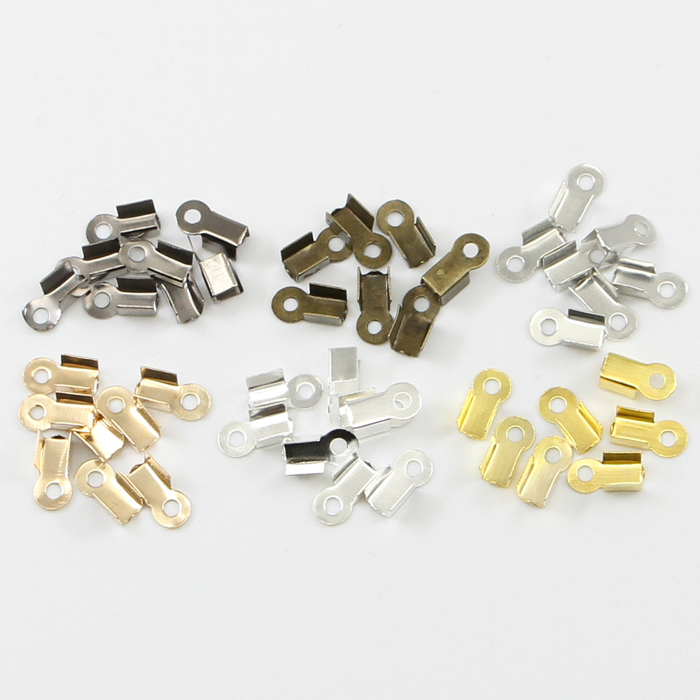 200pcs/lot Brass End Fasteners For Rhinestone Chain Fold Over Crimp Cord Ends Connector Fastener For DIY Jewelry Making Findings
