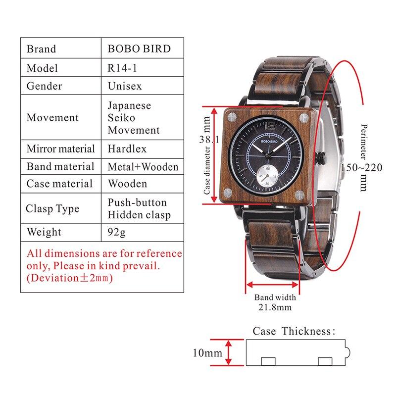 BOBO BIRD 2019 Square Design Unisex Wooden Watches 12