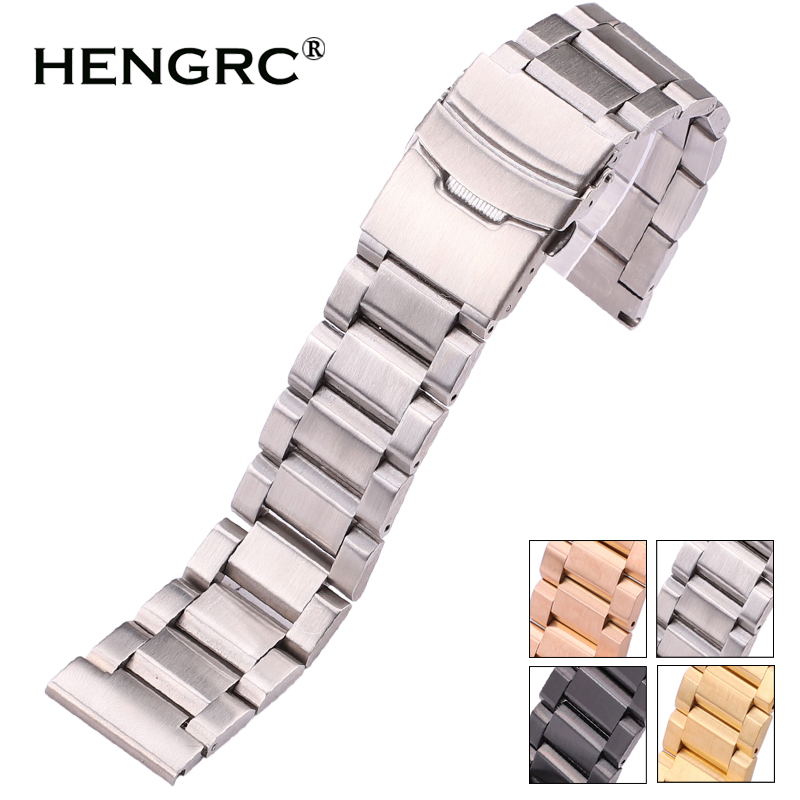 HENGRC 18 20 22 24mm Watchbands Bracelet Women Men Silver Rose Gold Black Stainlesss Steel Brushed Replace Watch Band Strap