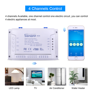 Image 4 - Sonoff 4CH Smart Wireless Switch Module 4 Channel Independent For Smart House Home Automation Controller Smart Remote Control