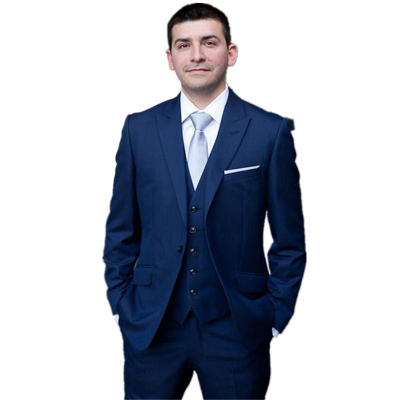 Men's suits Custom Made Royal Blue three-piece Men Slim Tuxedos Grooms Suit Men's Wedding Suits Formal Party Suits(China)