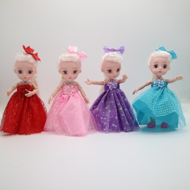 Small Princess Doll 1/8 Cute  bjd  1/8 joint body 3D eye plastic doll suitable for 18 wig face can DIY Head circumference 14cm 2