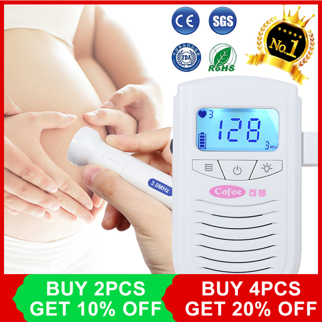 Cofoe Fetal Doppler Ultrasound Baby Heartbeat Detector Home Pregnant Doppler Baby Heart Rate Monitor Pocket Doppler 3.0MHz