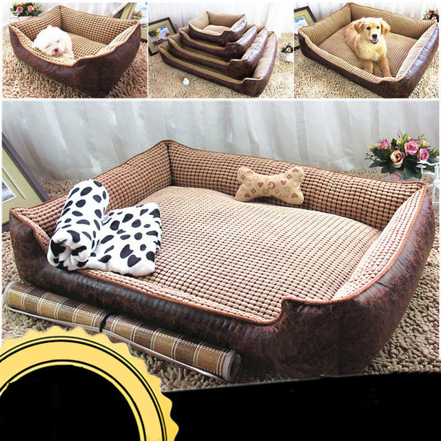 6442d2f9f864 Large Dog Bed Mat House Waterproof PU Leather Dog Mat Detachable Washable  PP Cotton Pet Puppy Cushion Soft Fleece Warm Kennel