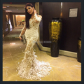 2015 Yousef aljasmi Mermaid Evening Dresses Sheer Scoop Appliques Long Sleeve Sweep Train Feather Luxury Saudi Arab Vestidos