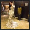 2015 Yousef aljasmi noche de la sirena Vestidos vaporosos Scoop apliques de manga larga del tren del barrido de la pluma de lujo de arabia saudita árabe Vestidos