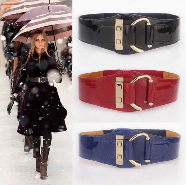 2017 ms wide  belts for women Leather bright pure color elastic belt woman leather coat of paint Belt coat sweater cummerbund