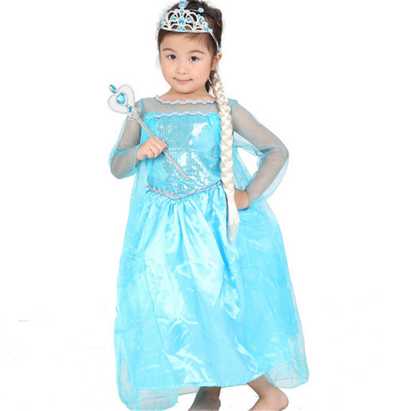 Kids Cosplay Costume Dress Cinderella Elsa Baby Girls: 2018 Summer Style Girl Dress Princess Elsa Dress Children