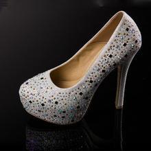 Big size EU 35-39 mode 14 cm high heels damen pumps mit strass hochzeit oder party schuhe frau