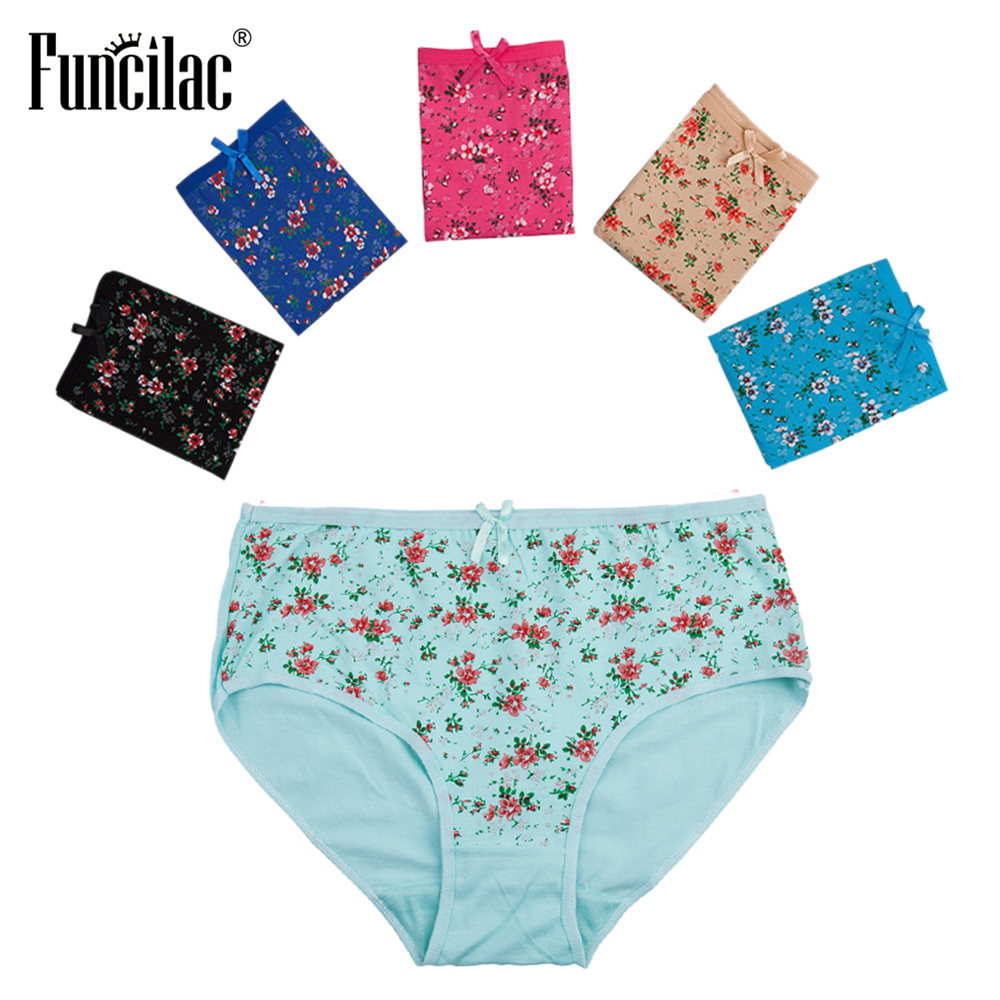 FUNCILAC Briefs For Women Plus Size Sexy   Panties   Print Girls Ladies Intimate Lace Female Underwear Women's Underwear 5Pcs/Lot