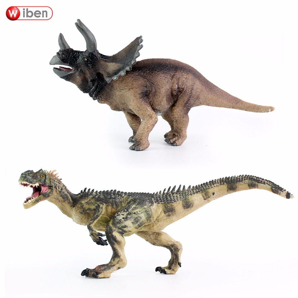 Wiben 2pcs/lot Jurassic Allosaurus Triceratops Dinosaur Toys Animal Model Collectible Model Toy Learning & Educational Boy Gift philips hr3745 00 viva collection миксер