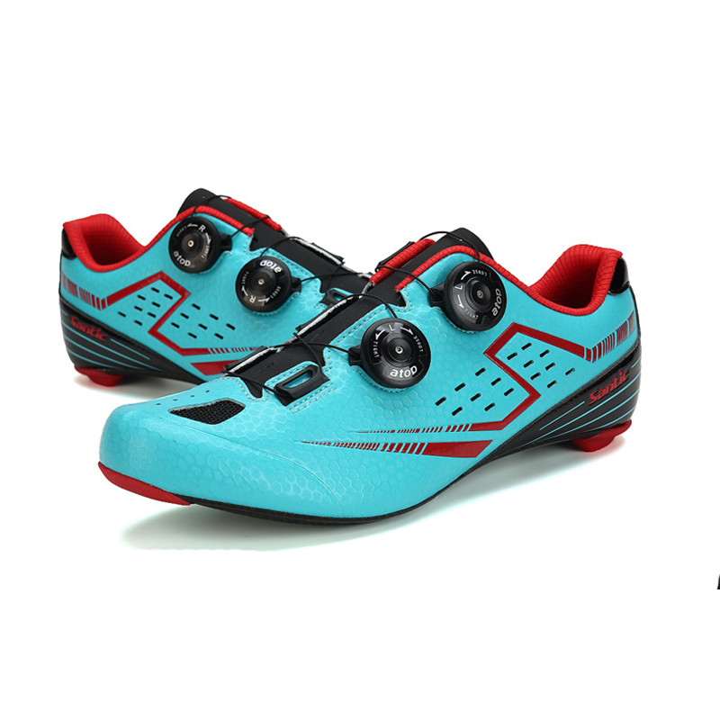 купить Santic Men Road Cycling Shoes Carbon Light Sole with PU Upper Ciclismo Zapatilla Annular Alignment Eur Size 39-45 450g S12021 дешево