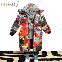Jacket for Boys 2018 New Brand Hooded Winter Jackets Graffiti Camouflage Parkas For Teenagers Boys Thick Long Coat Kids Clothes