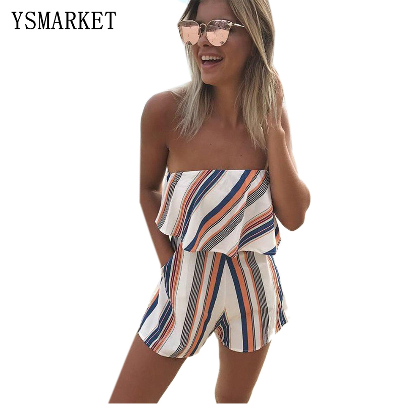 Summer 2017 Women Print Strapless Playsuit Striped Romper Ruffles Sleeve Jumpsuit Backless Sexy Overall Casual Beach Short Pants