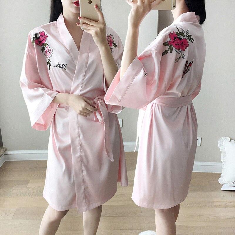 RenYvtil nouvelle soie pivoine brodé pyjamas chemise de nuit glace soie peignoir femme Sexy printemps été chemise de nuit livraison directe