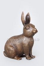 Bronze Art Crafts  Business Gifts Feng Shui Chinese Zodiac Sculpture Rabbit Statue Free Shipping