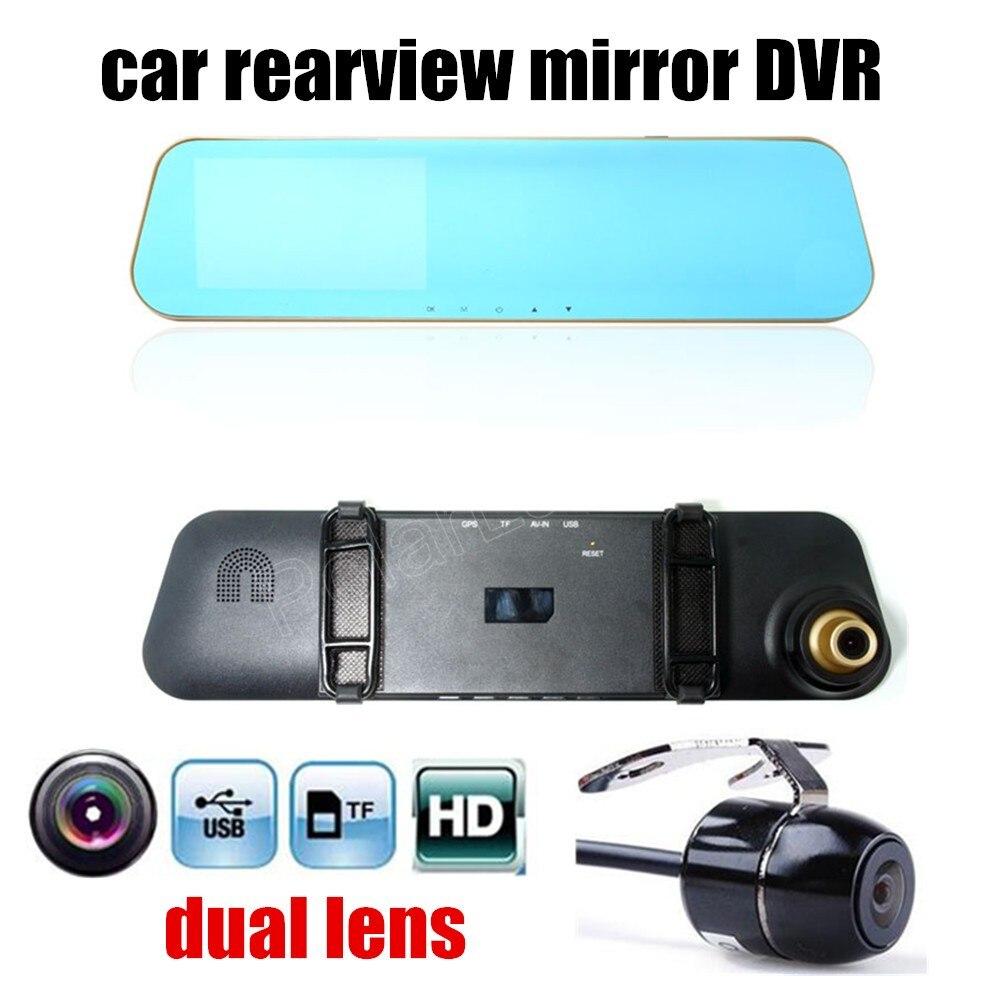 Vente chaude 4.3 pouce voiture rétroviseur DVR HD double lentille enregistreur vidéo caméscope véhicule dash cam boîte noire comprennent arrière caméra
