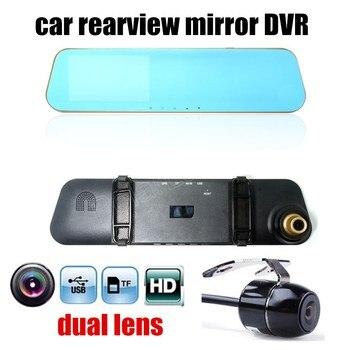 hot sale 4.3 inch car rearview mirror DVR HD dual lens video recorder camcorder vehicle dash cam black box include rear camera