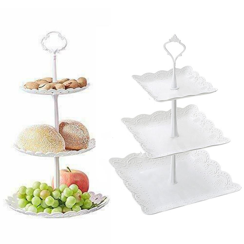 3 яруса кружевных Пластик подставка для свадебного торта днем Чай Свадебные тарелки вечерние посуда для выпечки торта магазин три Слои торт стеллаж для хранения лоток