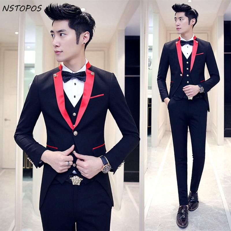 red black tuxedo wedding suits for men 2016 lastest prom